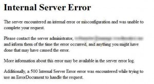 Comment corriger Internal Server Error de wordpress