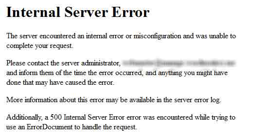 corriger Internal Server Error