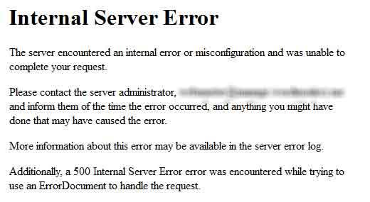 corriger Internal Server Error