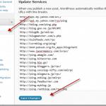 wordpress ping liste pour une indexation rapide de vos articles