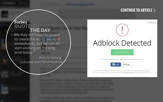 bloquer les utilisateurs adblock