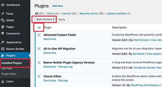 deactivater plugins