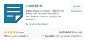 désactiver Gutenberg et activer l'éditeur WordPress