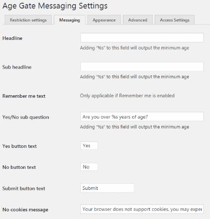 personnaliser le message de vérification d'age