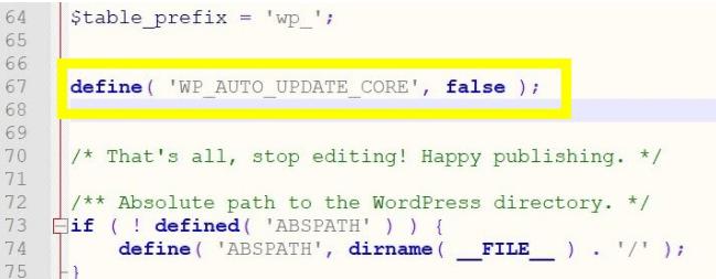 désactiver les mises à jours automatiques de WordPress