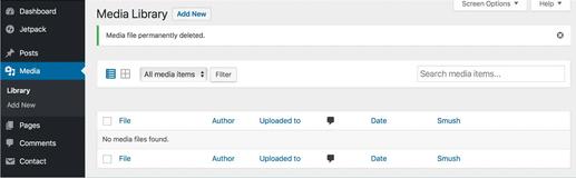 dossier média vide WordPress