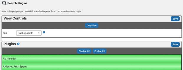 Désactiver les plugins sur la page de recherche