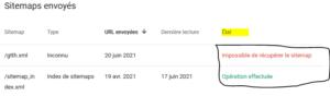 corriger erreurs sitemaps google search console